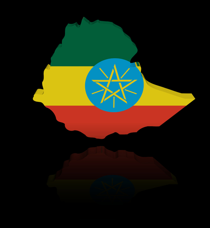 ethiopia abstract: Ethiopia map flag with reflection illustration Stock Photo