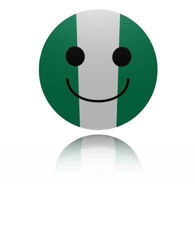 euphoric: Nigeria happy icon with reflection illustration