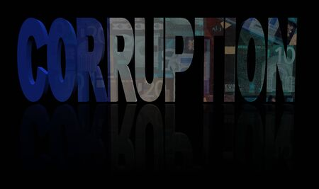 corruption: Corruption text with French flag and currency illustration Stock Photo