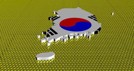 south asian: South Korea map flag on golden Won coins illustration