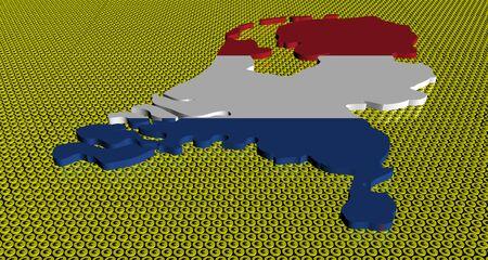 netherlands map: Netherlands map flag on golden euros coins illustration