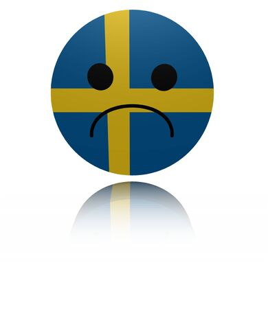 mournful: Sweden sad icon with reflection illustration Stock Photo
