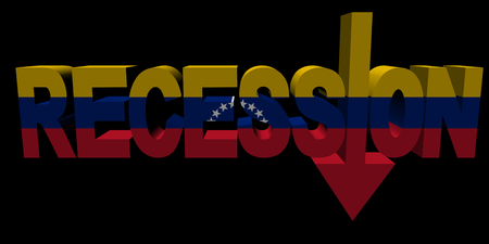 recession: Recession text arrow with Venezuelan flag illustration
