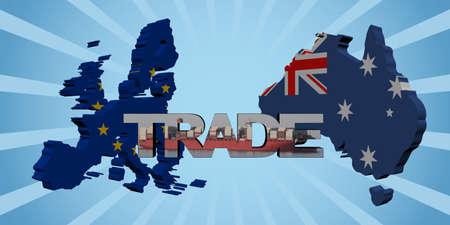 trade union: EU Australia map flags with trade text illustration