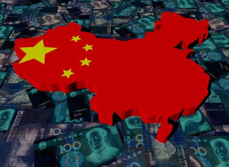 yuan: China Map flag on Yuan illustration Stock Photo