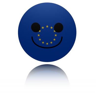 joyous: EU happy icon with reflection illustration