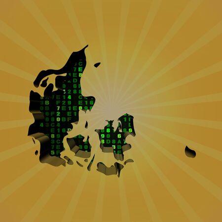 hex: Denmark sunburst map with hex code illustration Stock Photo