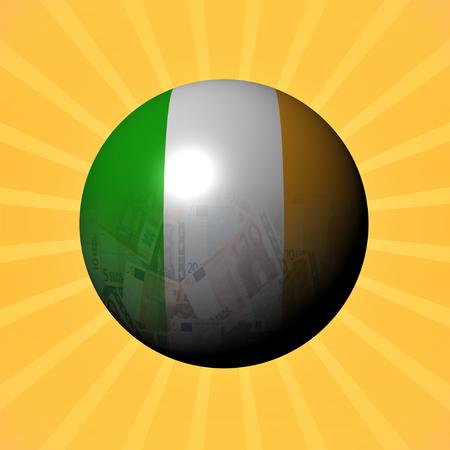 bandera irlanda: Ireland flag euros sphere on sunburst illustration