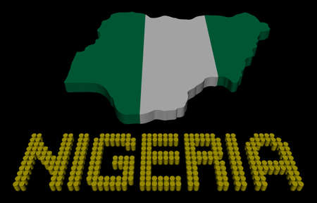 fluids: Nigeria barrel text with map flag illustration