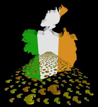 irish map: Ireland map flag with euros foreground illustration