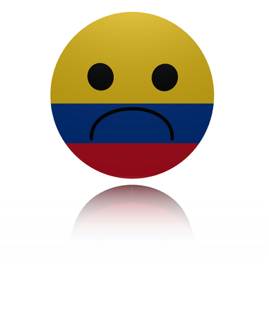 gloom: Colombia sad icon with reflection illustration Stock Photo