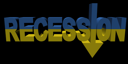 difficulties: Recession text arrow with Ukraine flag illustration Stock Photo