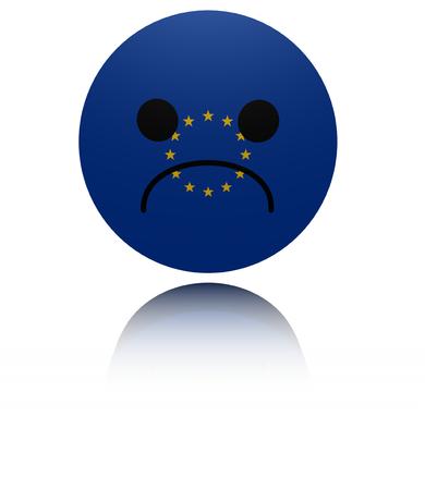 sorrowful: EU sad icon with reflection illustration
