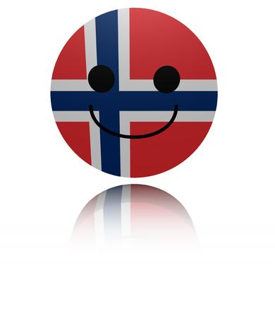 euphoric: Norway  happy icon with reflection illustration