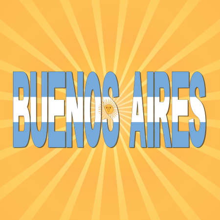 aires: Buenos Aires flag text with sunburst illustration