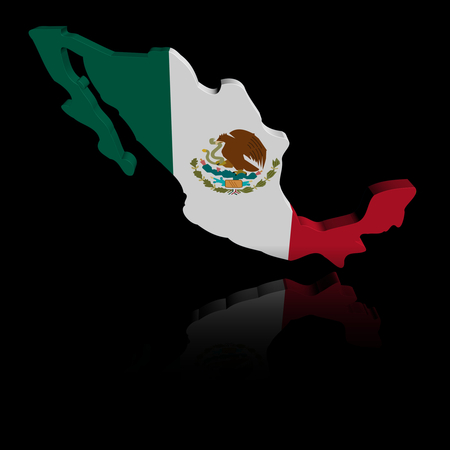 reflection: Mexico map flag with reflection illustration Stock Photo