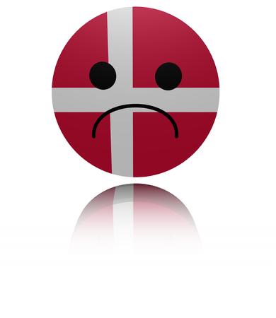 reflection: Denmark sad icon with reflection illustration