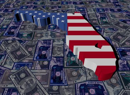 Florida map flag on dollars illustration
