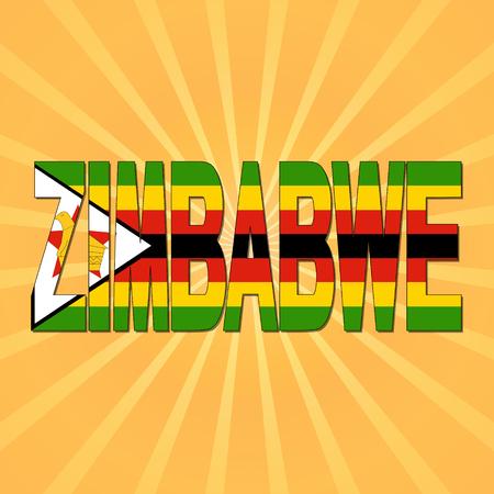 zimbabwe: Zimbabwe flag text with sunburst illustration