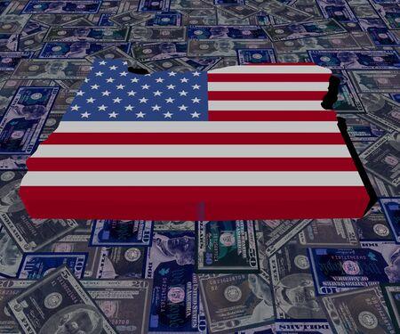 0 geography: Oregon map flag on dollars illustration