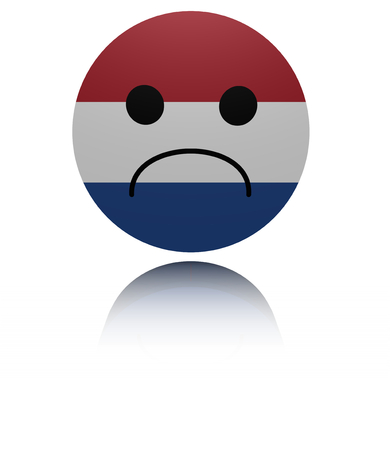 sorrowful: Netherlands sad icon with reflection illustration
