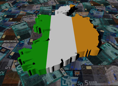 ireland map: Ireland Map flag on Euros illustration