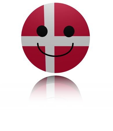 euphoric: Denmark happy icon with reflection illustration