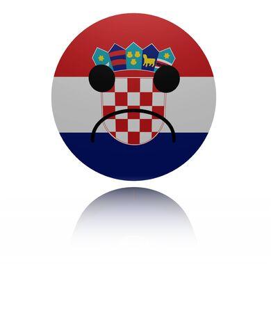 mournful: Croatia sad icon with reflection illustration Stock Photo
