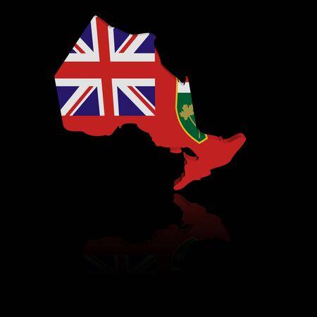 ontario: Ontario map flag with reflection illustration Stock Photo