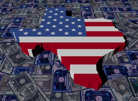 Texas map flag on dollars illustration