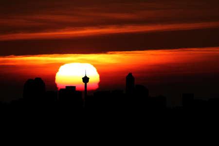 calgary: Calgary skyline at sunset illustration