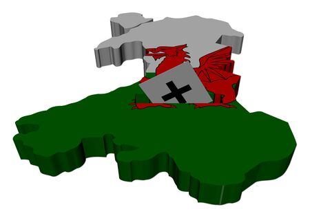 ballot paper: Wales election map with ballot paper illustration