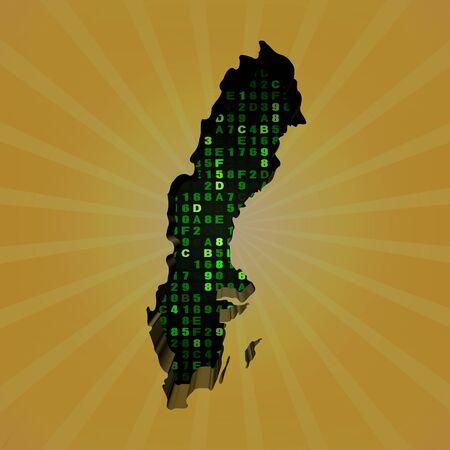 hex: Sweden sunburst map with hex code illustration