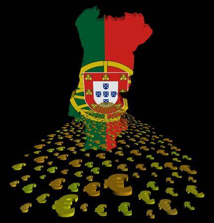 bandera de portugal: bandera de Portugal y la ilustraci�n de euros en primer plano Foto de archivo