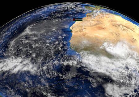 elevated: Western Sahara flag on pole on earth globe illustration - Elements of this image furnished by NASA Stock Photo
