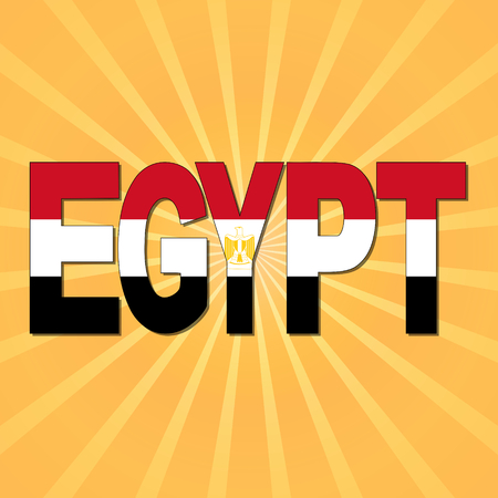 bandera de egipto: Texto del indicador de Egipto con la ilustración Sunburst Foto de archivo