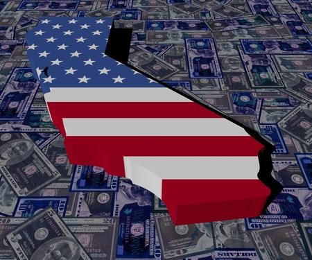 California map flag on dollars illustration