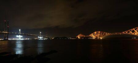forth: Forth Road and Rail Bridge by night Scotland