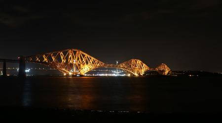 forth: Forth Rail Bridge illuminated at night Scotland