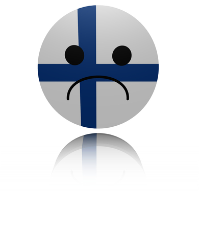 gloom: Finland sad icon with reflection illustration Stock Photo