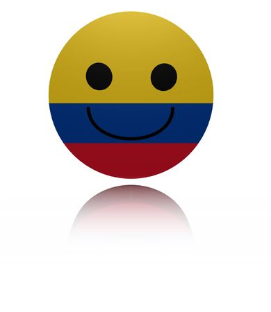 joyous: Colombia happy icon with reflection illustration