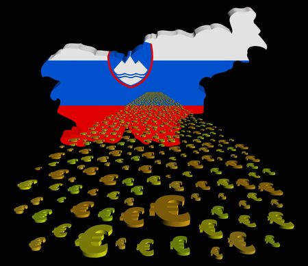foreground: Slovenia map flag with euros foreground illustration