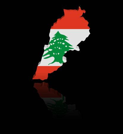 lebanese: Lebanon map flag with reflection illustration Stock Photo