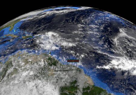 elevated: Suriname flag on pole on earth globe illustration