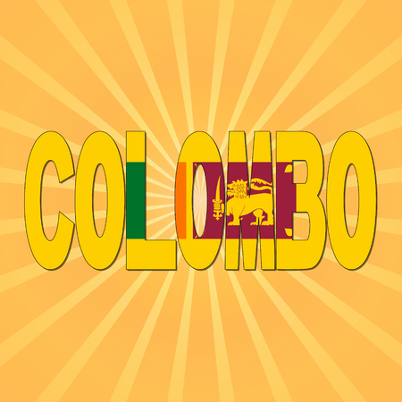 colombo: Colombo flag text with sunburst illustration Stock Photo