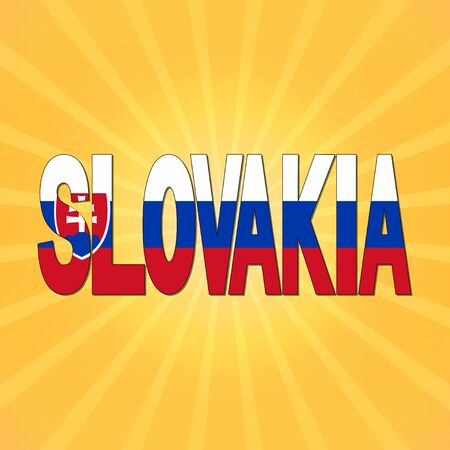 slovakia flag: Slovakia flag text with sunburst illustration