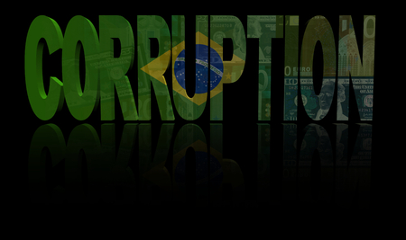 corruption: Corruption text with Brazilian flag and currency illustration