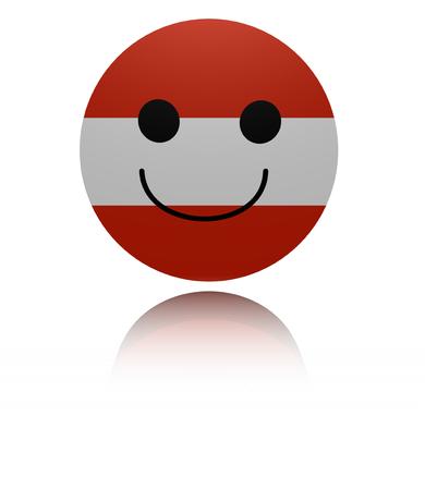 euphoric: Austria happy icon with reflection illustration Stock Photo