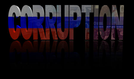 corruption: Corruption text with Russian flag and currency illustration
