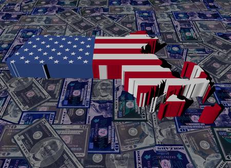 0 geography: Massachusetts map flag on dollars illustration Stock Photo